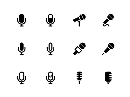 podcasting: Microphone icons on white background. Vector illustration.