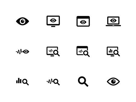 Beobachtung und Überwachung Symbole auf weißem Hintergrund. Vektor-Illustration.