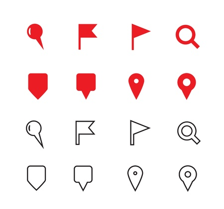 map pin: GPS and Navigation icons on white background. Vector illustration.