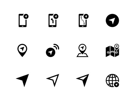 Navigator icons on white background. Vector illustration.