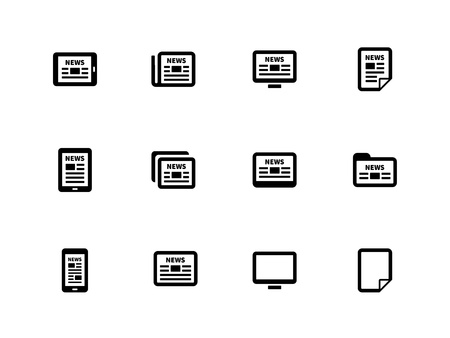 Newspaper icons on white background. Vector illustration.