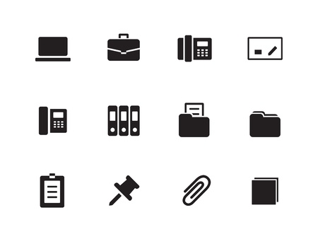 Office icons on white background. Vector illustration. Illustration