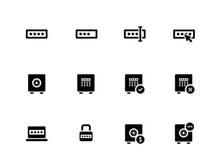 Password icons on white background. Vector illustration.