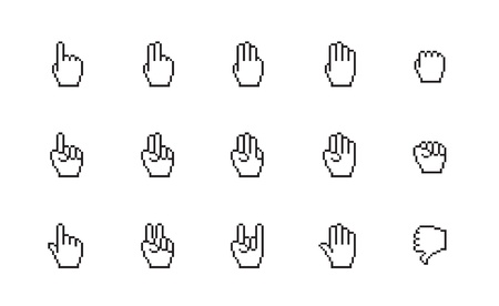 Pixel cursors icons: mouse hands. Vector Illustration. Illustration