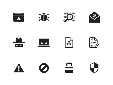 bugs: Security icons on white background  Vector illustration  Illustration