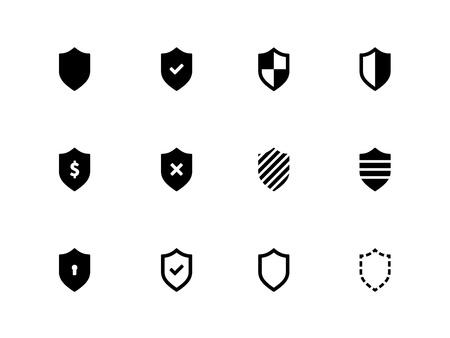 Iconos del blindaje en el fondo blanco Ilustración vectorial