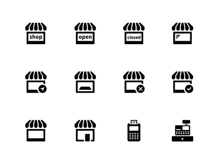 Shop icons on white background  Vector illustration