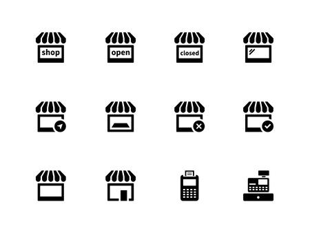 Tienda de iconos en el fondo blanco Ilustración vectorial