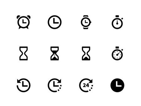 Time and Clock icons on white background  Vector illustration  Vettoriali
