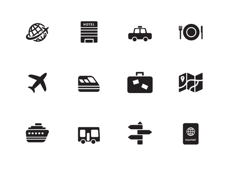 Travel  icons on white background  Vector illustration  Vector