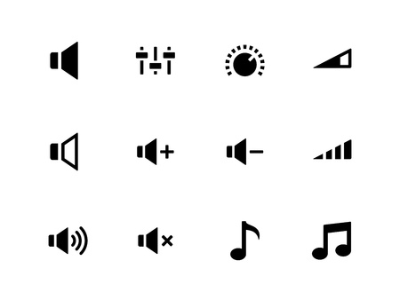 Speaker icons on white background  Volume control  Vector illustration