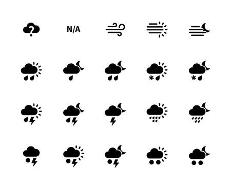Weather icons on white background. Additional part. Vector illustration. Illustration