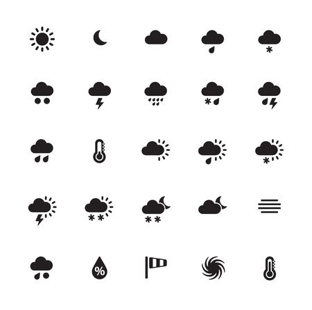 Weather icons on white background. Vector illustration.