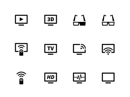 flatscreen: TV icons on white background. Vector illustration.