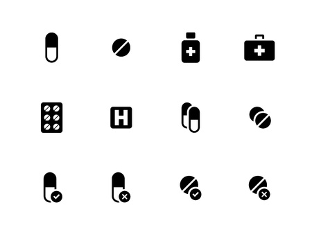 Pills, medication icons on white background. Vector illustration. Illustration