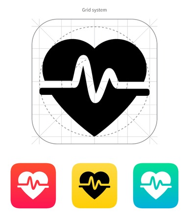 Pulse heart icon on white background. Vector illustration.