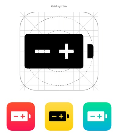 polarity: Polarity battery icon on white background. Vector illustration.