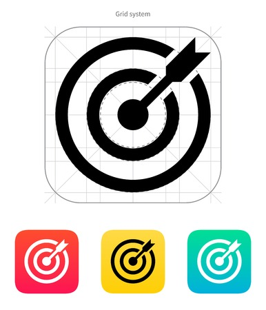aim: Darts target aim icon. Successful shoot. Vector illustration.