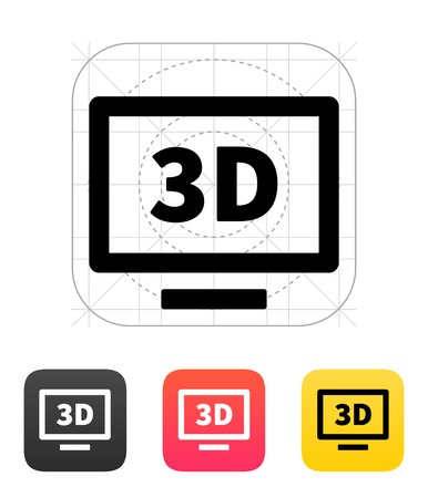 3D TV icon. . Vector illustration. Vector