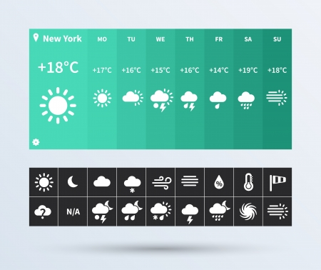 cold weather: Weather Widget UI set of beautiful components featuring the flat design trend. Vector illustration.