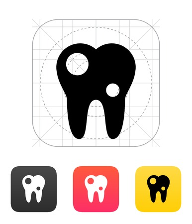 Tooth with caries icon on white background. Vector illustration.