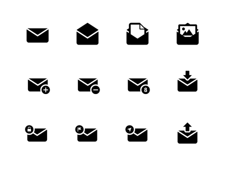 Email icons on white background. Envelope signs for web and applications. Vector illustration. Vector