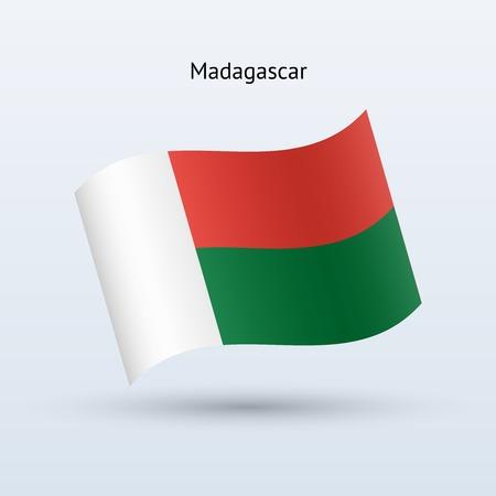 Madagascar flag waving form on gray background. Vector illustration. Иллюстрация