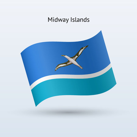 midway: Midway Islands flag waving form on gray background. Vector illustration. Illustration