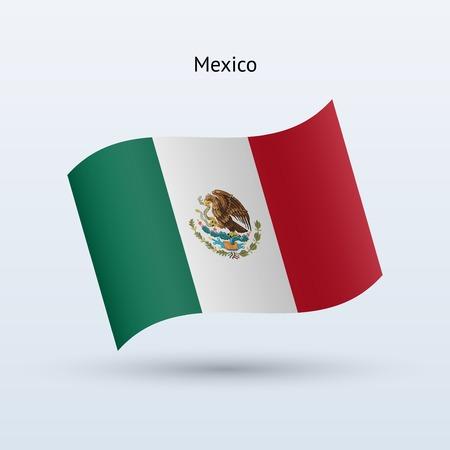 bandera mexico: Bandera de M�xico forma sobre fondo gris ondeando. Ilustraci�n del vector.