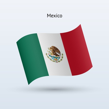 flag mexico: Mexico flag waving form on gray background. Vector illustration. Illustration