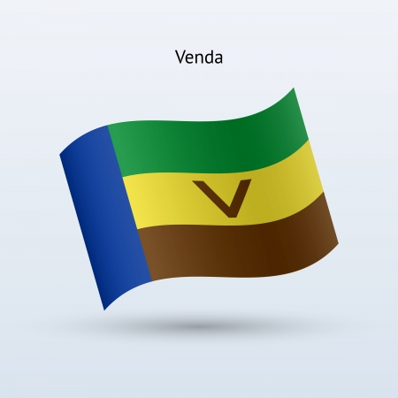 Venda flag waving form on gray background. Vector illustration.