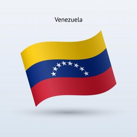 venezuela: Venezuela flag waving form on gray background. Vector illustration.