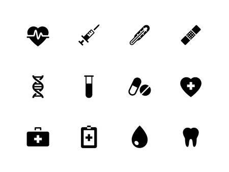 Medical icons on white background. Vector illustration.