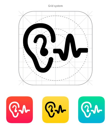Ear hearing sound icon. Vector illustration.  イラスト・ベクター素材