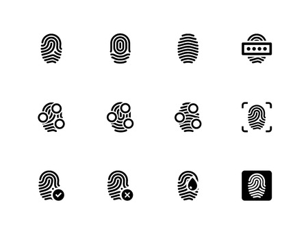 Fingerprint icons on white background. Vector illustration.
