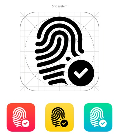 accepted: Fingerprint accepted icon. Vector illustration.
