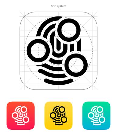 Fingerprint whorl type scan icon. Vector illustration.