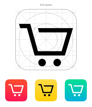 cart icon: Empty supermarket shopping cart  icon. Vector illustration.