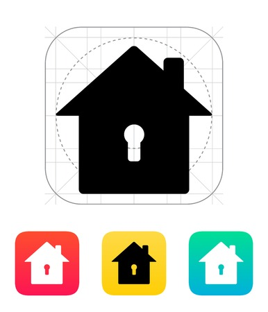 Abstract home with keyhole icon. Vector illustration. Vector