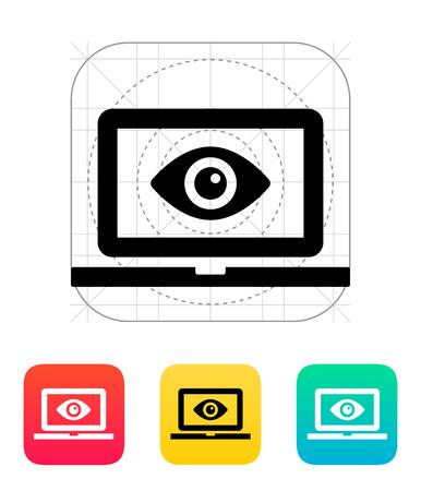 Laptop monitoring icon. Vector illustration. Illustration