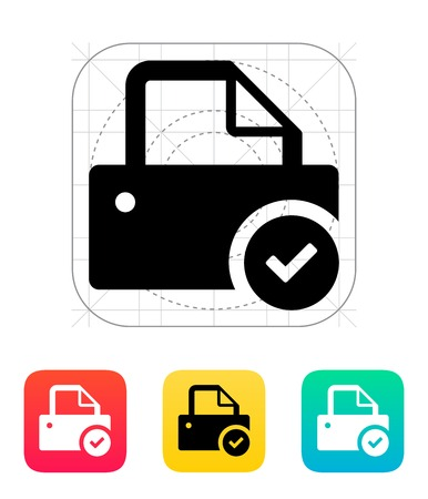 check sign: Printer with check sign icon. Vector illustration.