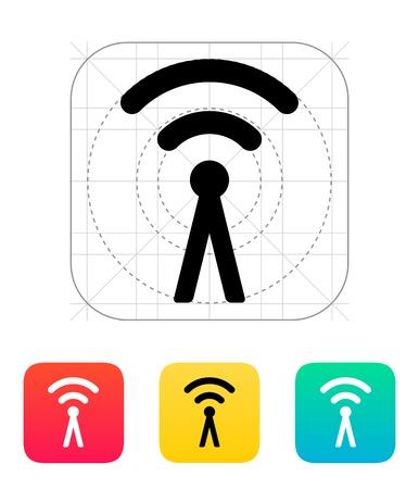 wireless technology: Antenna broadcasting radio signal icon. Wireless technology. Vector illustration.