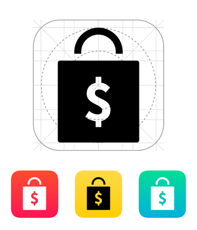 Bag with price icon. Vector illustration. Vector