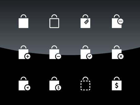 Shopping bag icons on black background. Vector illustration. Vector