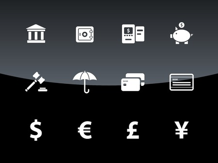 Banking icons on black background. Vector illustration. Vector