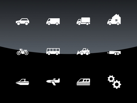 minibus: Cars and Transport icons illustration.
