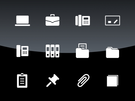 Office icons on black illustration. Vector