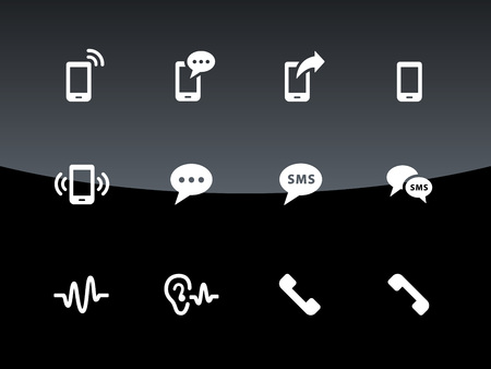 Phone icons on black illustration. Vector