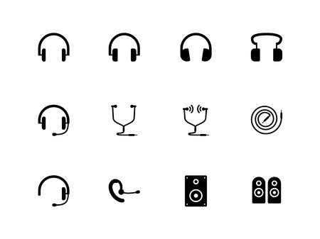 Hoofdtelefoons en luidsprekers pictogrammen illustratie. Stock Illustratie