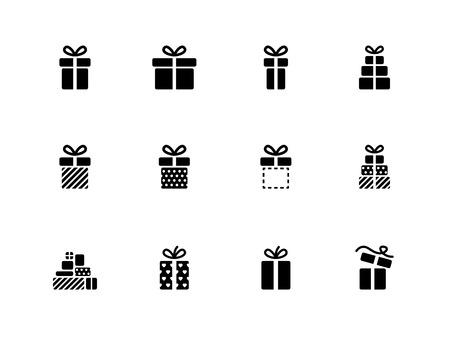Gift box icons on white background  Vector illustration   イラスト・ベクター素材
